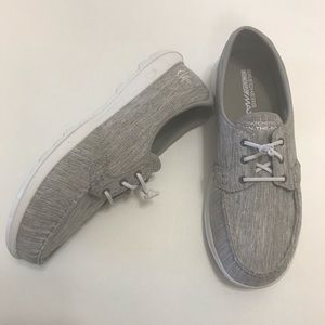 Skechers Goga Max Boat Shoes Gray Linen Loafers 9